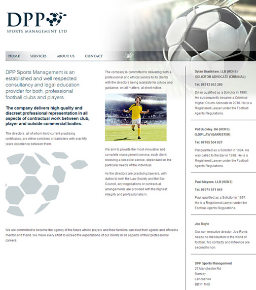 dpp sports management website screenshot