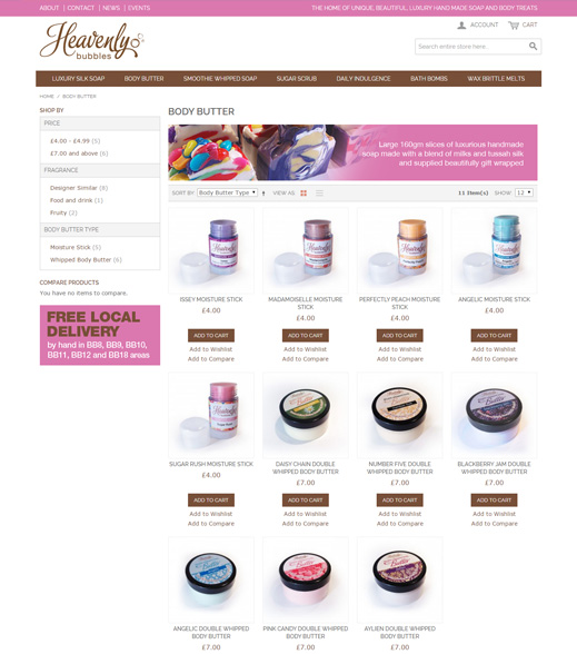 Heavenly Bubbles Website Screenshot