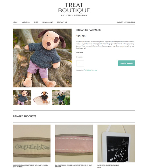 treat boutique website product screenshot